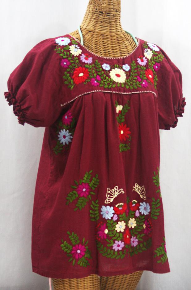 """""""La Mariposa Corta de Color"""" Embroidered Mexican Peasant Blouse - Burgundy + Multi"""