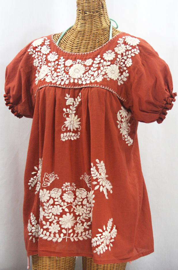 """""""La Mariposa Corta de Color"""" Embroidered Mexican Blouse - Terracotta + Cream"""