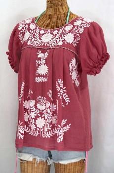 """La Mariposa Corta"" Embroidered Mexican Style Peasant Top - Matte Burgundy"