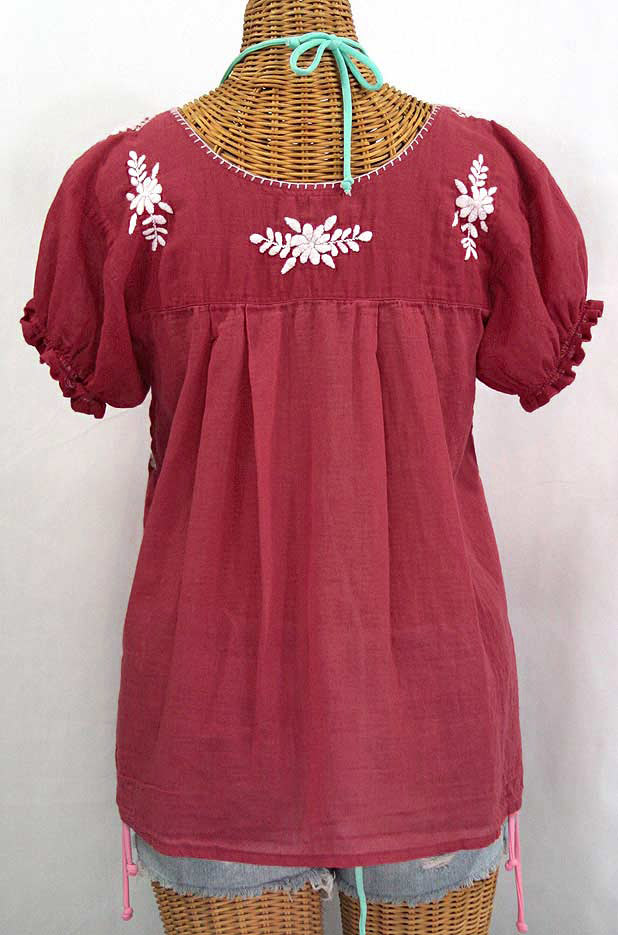 """La Mariposa Corta"" Embroidered Mexican Style Peasant Top - Matte Burgundy"