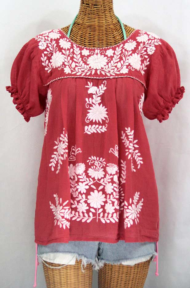 """La Mariposa Corta"" Embroidered Mexican Style Peasant Top - Tomato Red"