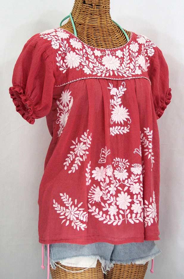 """La Mariposa Corta"" Embroidered Mexican Style Peasant Top - Tomato Red"