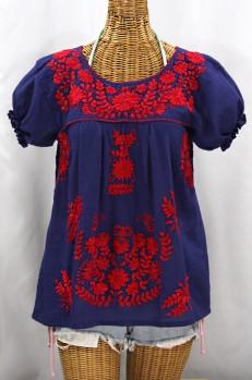 """""""La Mariposa Corta de Color"""" Embroidered Mexican Blouse - Denim + Red"""