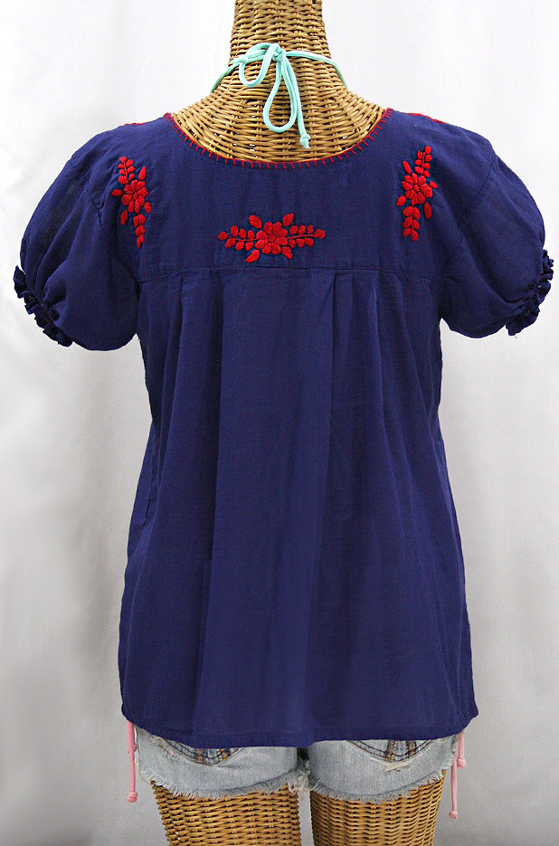 """La Mariposa Corta de Color"" Embroidered Mexican Blouse - Denim + Red"