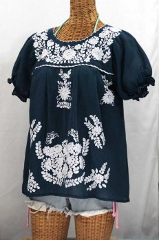 """La Mariposa Corta"" Embroidered Mexican Style Peasant Top - Navy Blue"