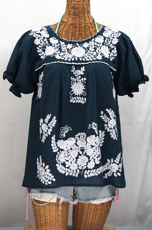 """""""La Mariposa Corta"""" Embroidered Mexican Style Peasant Top - Navy Blue"""