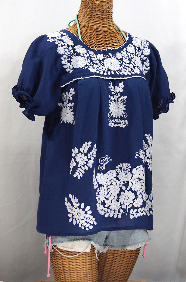 """La Mariposa Corta"" Embroidered Mexican Style Peasant Top - Denim Blue"