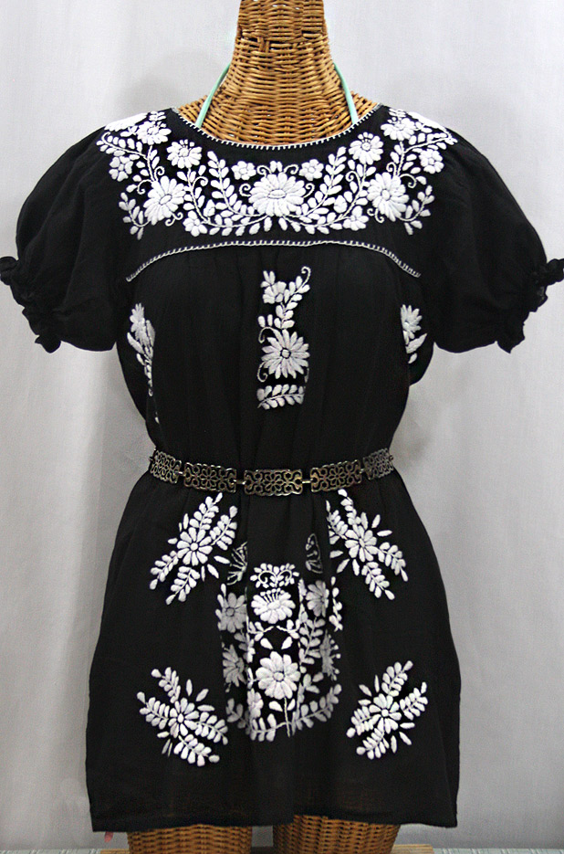 """""""La Mariposa Corta"""" Embroidered Mexican Bluse - Tunic Length - Black + White"""