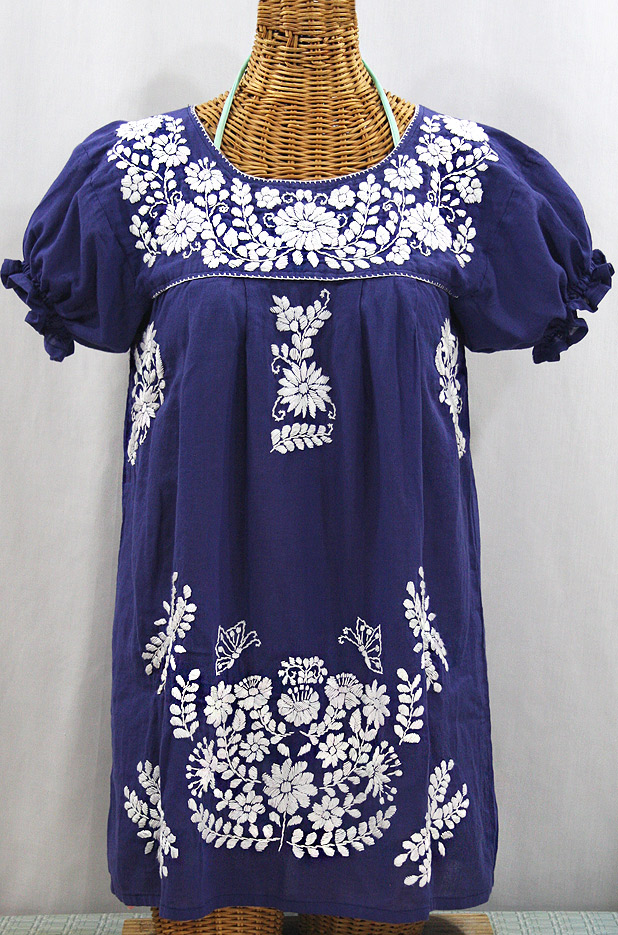 """La Mariposa Corta"" Embroidered Mexican Bluse - Tunic Length - Denim Blue + White"
