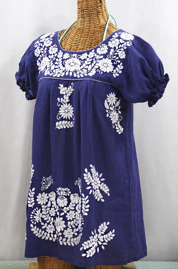 """""""La Mariposa Corta"""" Embroidered Mexican Bluse - Tunic Length - Denim Blue + White"""