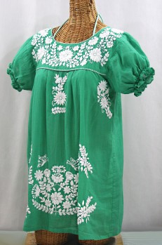 "50% Off Final Sale ""La Mariposa Corta"" Embroidered Mexican Bluse - Tunic Length - Green + White"