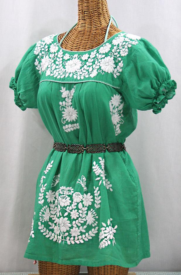 """La Mariposa Corta"" Embroidered Mexican Bluse - Tunic Length - Green + White"
