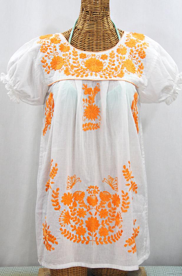 """50% Off Final Sale """"La Mariposa Corta"""" Embroidered Mexican Bluse - Tunic Length - White + Neon Orange"""