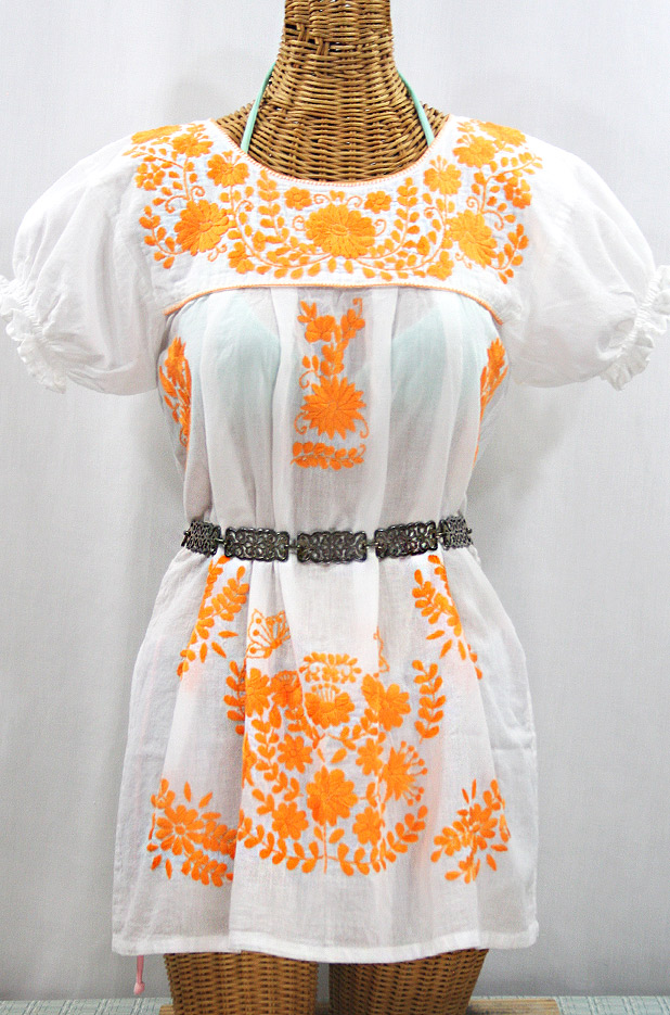 """""""La Mariposa Corta"""" Embroidered Mexican Bluse - Tunic Length - White + Neon Orange"""