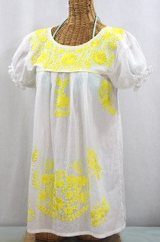 "50% Off Final Sale ""La Mariposa Corta"" Embroidered Mexican Bluse - Tunic Length - White + Neon Yellow"