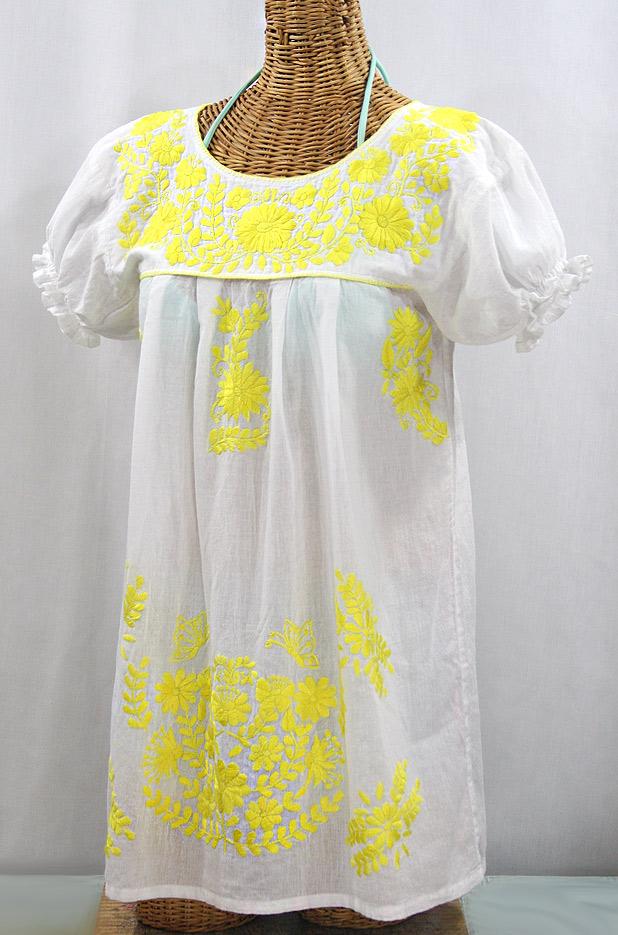 "Final Sale 50% Off -- ""La Mariposa Corta"" Embroidered Mexican Bluse - Tunic Length - White + Neon Yellow"