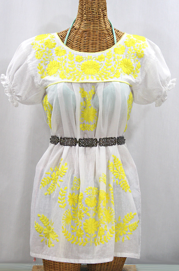 """La Mariposa Corta"" Embroidered Mexican Bluse - Tunic Length - White + Neon Yellow"