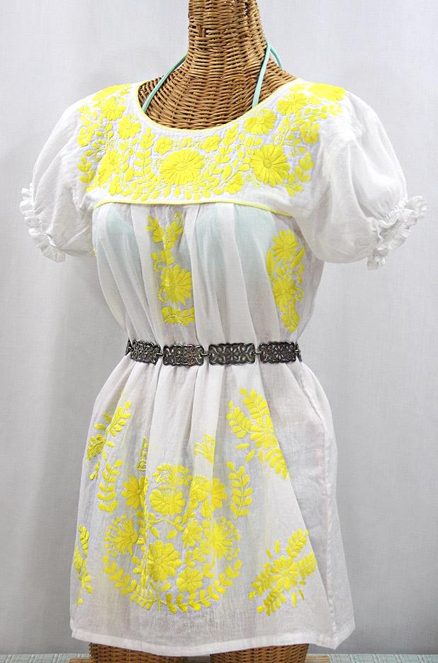 "50% Off Final Sale ""La Mariposa Corta"" Embroidered Mexican Bluse - Tunic Length - White + Neon Yellow"