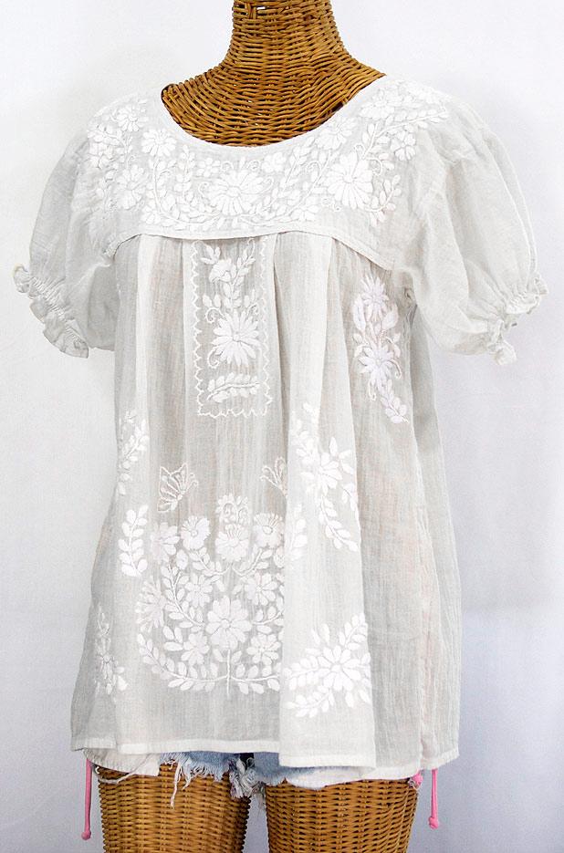 """La Mariposa Corta"" Embroidered Mexican Style Peasant Top - All White"