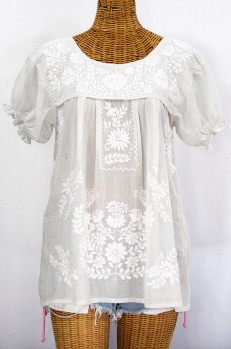 """La Mariposa Corta"" Embroidered Mexican Style Peasant Top - All White"