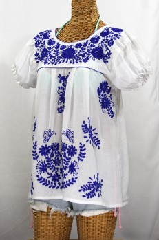 """La Mariposa Corta de Color"" Embroidered Mexican Blouse - White + Blue"