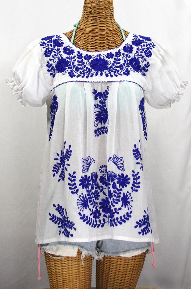 """""""La Mariposa Corta de Color"""" Embroidered Mexican Blouse - White + Blue"""