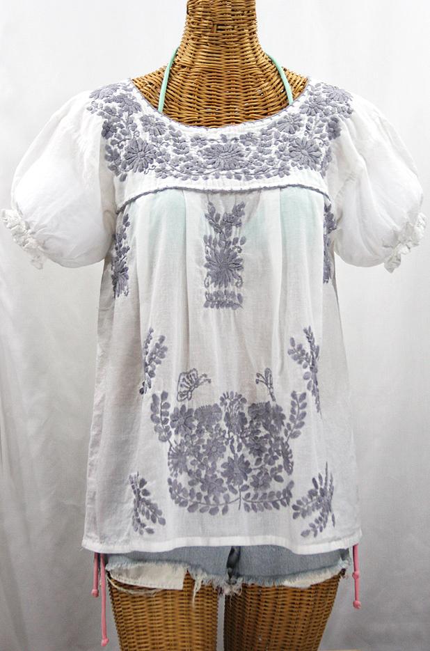 """""""La Mariposa Corta de Color"""" Embroidered Mexican Blouse - White + Grey"""
