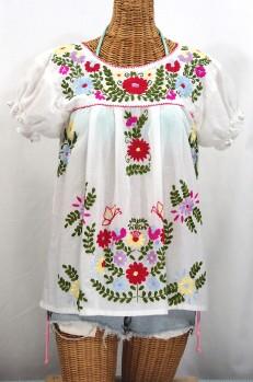 """""""La Mariposa Corta de Color"""" Embroidered Mexican Peasant Blouse - White"""