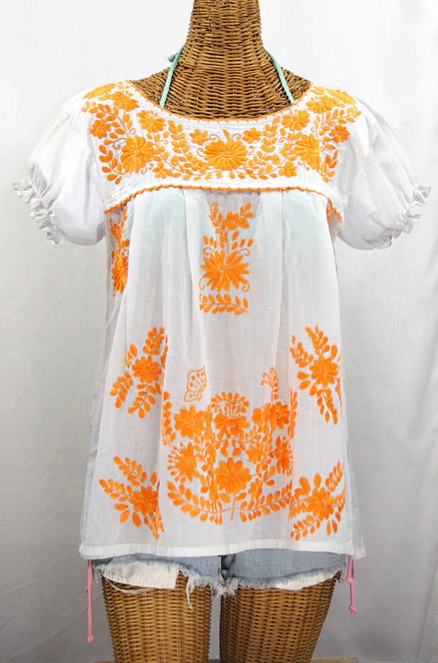 """La Mariposa Corta de Color"" Embroidered Mexican Blouse - White + Neon Orange"