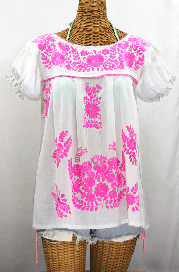 """La Mariposa Corta de Color"" Embroidered Mexican Blouse - White + Neon Pink"