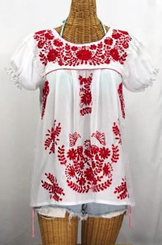 """""""La Mariposa Corta de Color"""" Embroidered Mexican Blouse - White + Red"""
