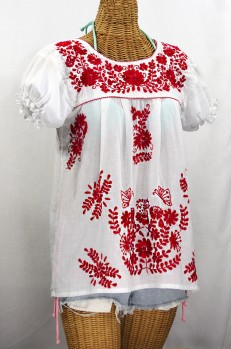 """La Mariposa Corta de Color"" Embroidered Mexican Blouse - White + Red"