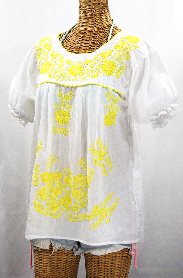 """La Mariposa Corta de Color"" Embroidered Mexican Blouse - White + Neon Yellow"