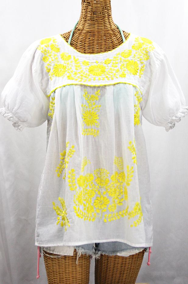 """""""La Mariposa Corta de Color"""" Embroidered Mexican Blouse - White + Neon Yellow"""