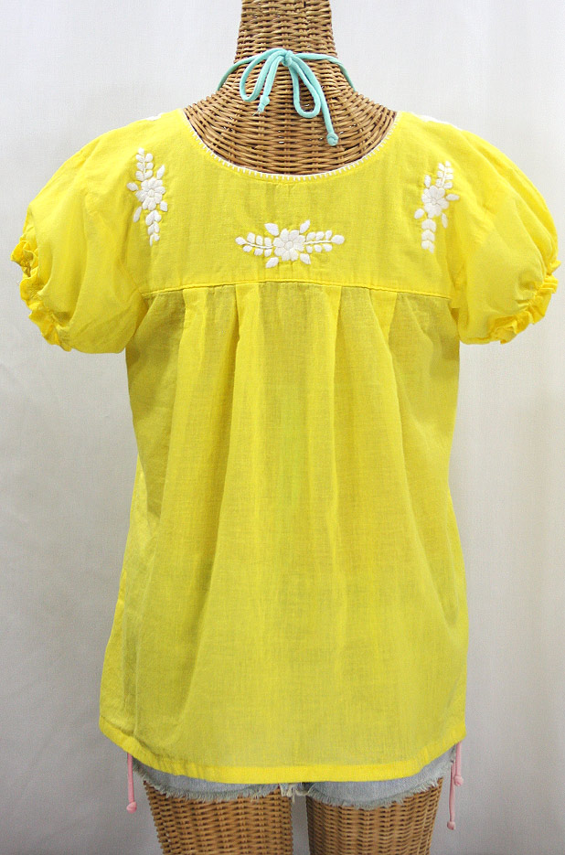 """La Mariposa Corta"" Embroidered Mexican Style Peasant Top - Yellow"