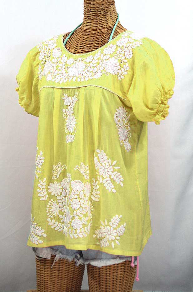 """La Mariposa Corta"" Embroidered Mexican Style Peasant Top - Bright Lemon Yellow"