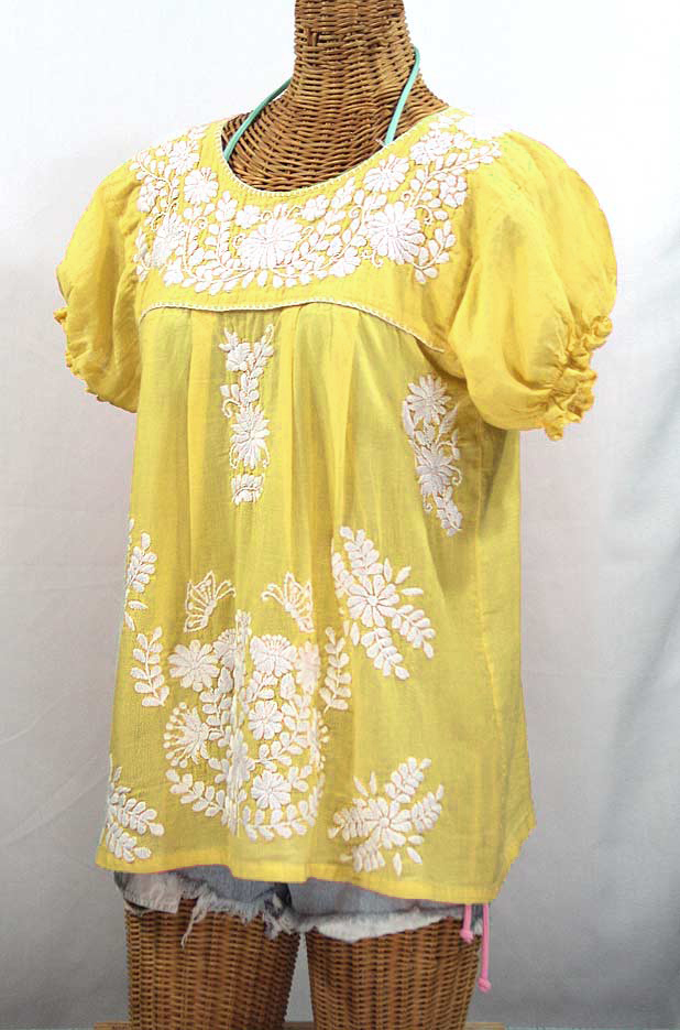 """""""La Mariposa Corta"""" Embroidered Mexican Style Peasant Top - Yellow"""