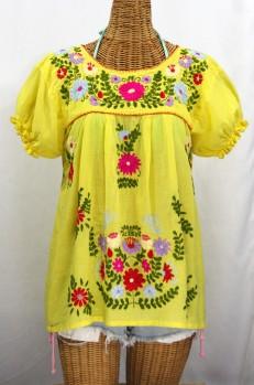 """""""La Mariposa Corta de Color"""" Embroidered Mexican Blouse - Yellow"""