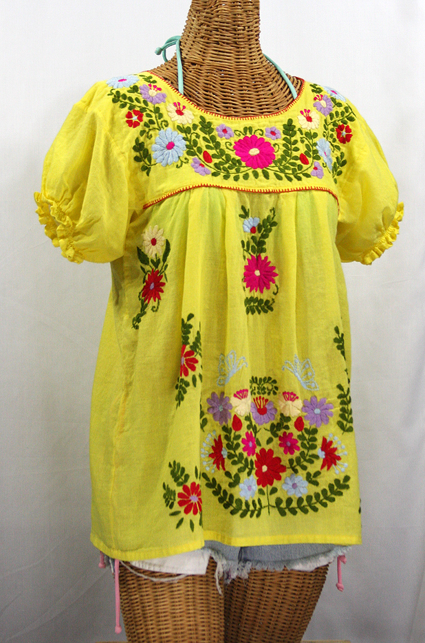 """La Mariposa Corta de Color"" Embroidered Mexican Blouse - Yellow"