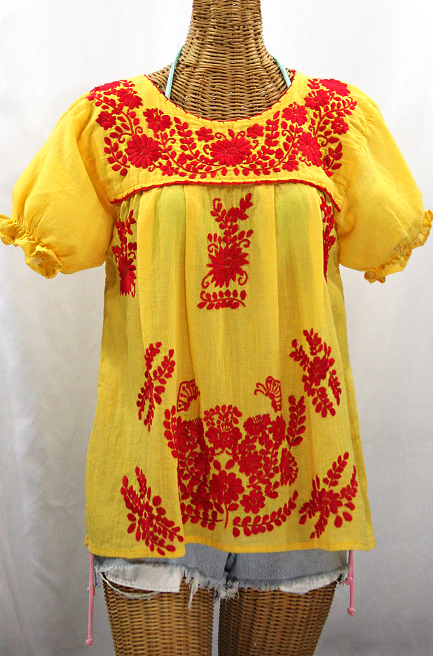 """La Mariposa Corta de Color"" Embroidered Mexican Blouse - Yellow + Red"