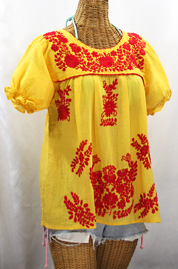 """La Mariposa Corta de Color"" Embroidered Mexican Blouse - Yellow + Red"