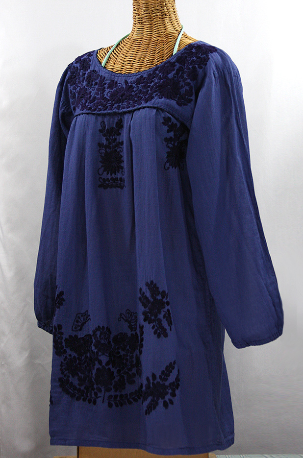 """La Mariposa"" Embroidered Mexican Dress - Denim Blue + Navy Embroidery"