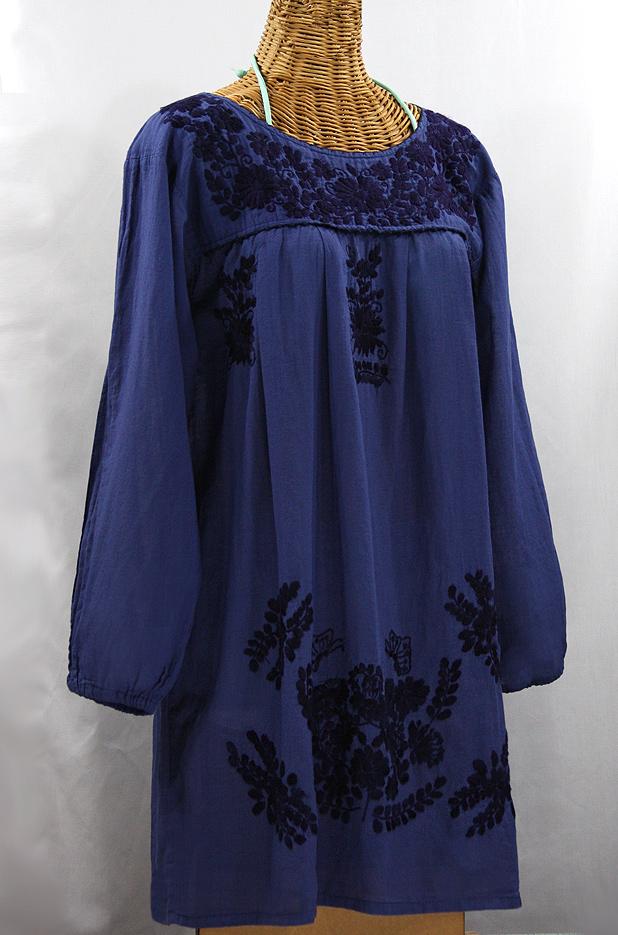 """La Mariposa Larga"" Embroidered Mexican Dress - Denim Blue + Navy Embroidery"