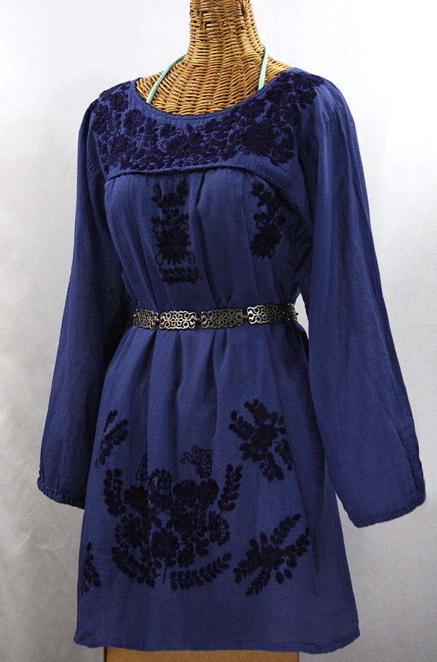 """""""La Mariposa"""" Embroidered Mexican Dress - Denim Blue + Navy Embroidery"""