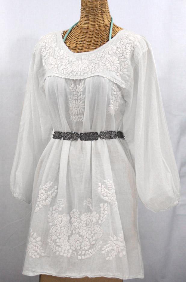 """La Mariposa Larga"" Embroidered Mexican Dress - All White"