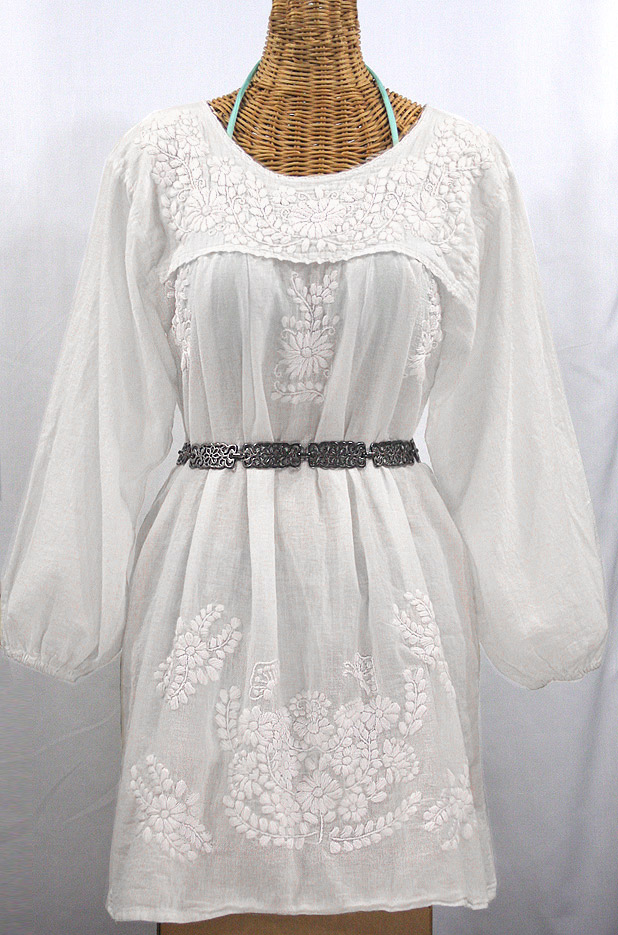 """La Mariposa Larga"" Embroidered Mexican Dress - All White"