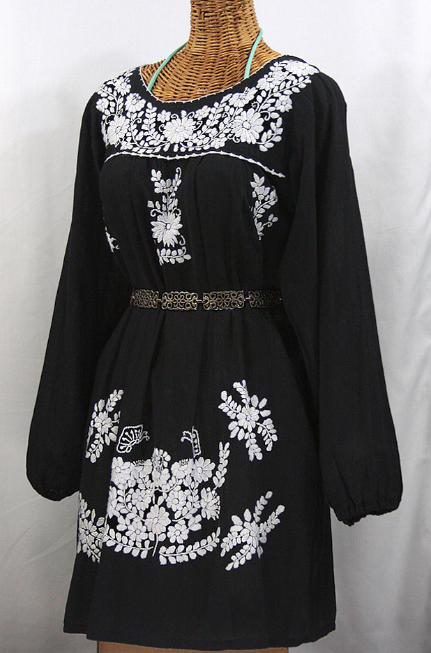 """La Mariposa Larga"" Embroidered Mexican Dress - Black"
