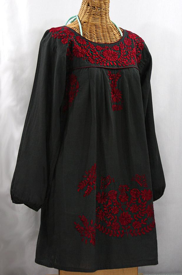 """La Mariposa Larga"" Embroidered Mexican Dress - Charcoal + Dark Red"