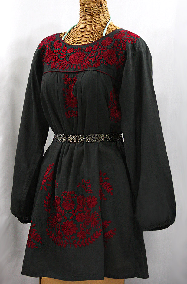 """La Mariposa Larga"" Embroidered Mexican Dress - Charcoal + Dark Red"