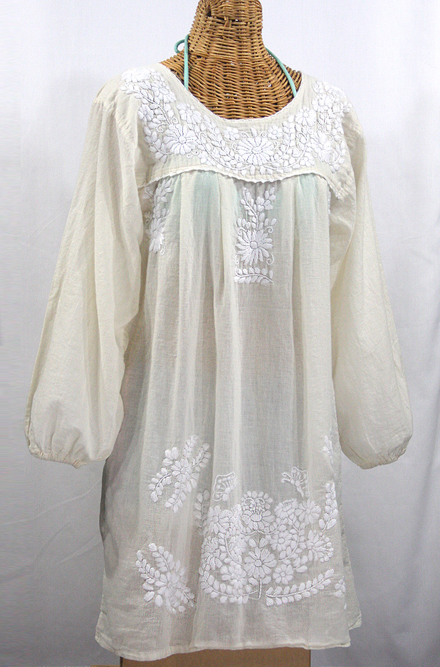 """La Mariposa"" Embroidered Mexican Dress - Cream"